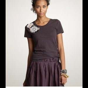 J Crew Beaded Embellished Floral Brown Tee Shirt
